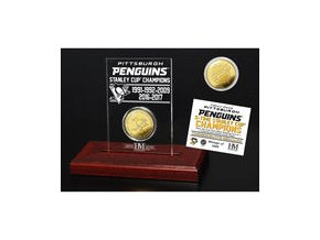 Pittsburgh Penguins Highland Mint 2017 Stanley Cup Champions 5-Time Multi-Champs Gold Coin Etched Acrylic