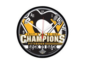 "Hodiny Pittsburgh Penguins WinCraft 2017 Stanley Cup Champions 12"" Round Clock"