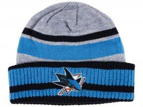 Zimní čepice San Jose Sharks adidas NHL Heathered Grey Beanie