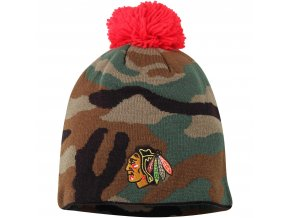 Kulich Chicago Blackhawks Reebok Camo Cuffless Knit Beanie With Pom