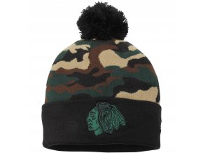 Kulich Chicago Blackhawks New Era Camo Top 2 Woodland Knit Beanie