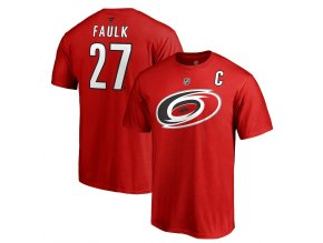 Tričko #27 Justin Faulk Carolina Hurricanes Stack Logo Name & Number