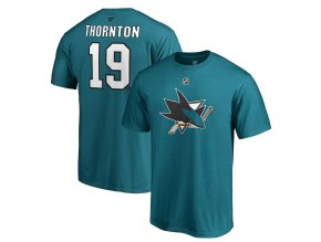 Tričko #19 Joe Thornton San Jose Sharks Stack Logo Name & Number