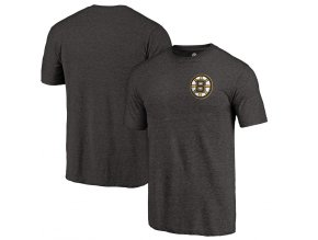 Tričko Boston Bruins Primary Logo Left Chest Distressed Tri-Blend