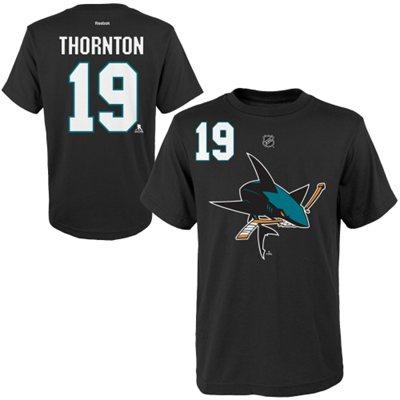 Reebok Tričko - #19 - Joe Thornton - San Jose Sharks - černé - dětské Velikost: Dětské M (9 - 11 let)