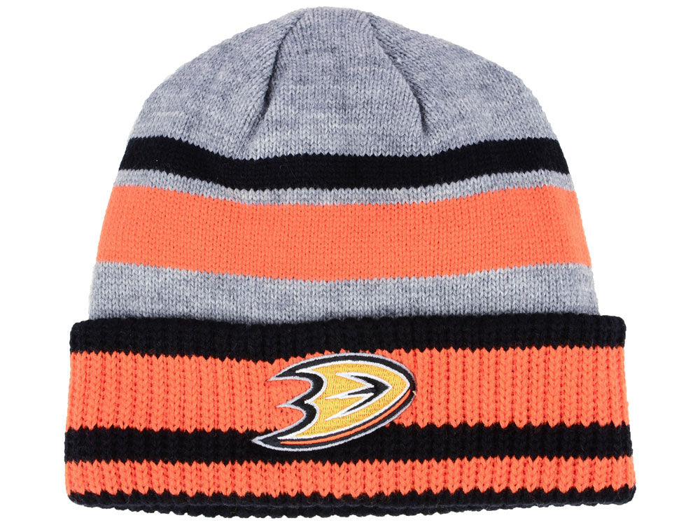 Zimní čepice Anaheim Ducks adidas NHL Heathered Grey Beanie