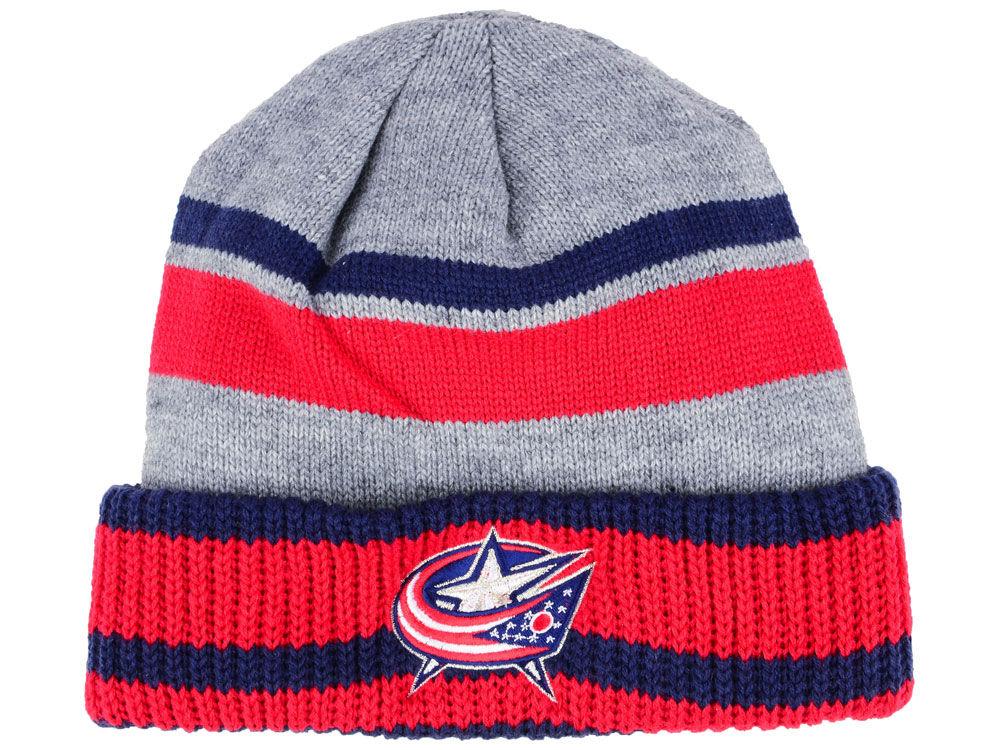 Zimní čepice Columbus Blue Jackets adidas NHL Heathered Grey Beanie f9ac500bba