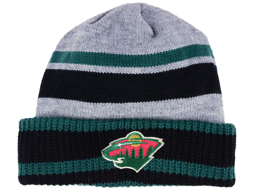 Zimní čepice Minnesota Wild adidas NHL Heathered Grey Beanie