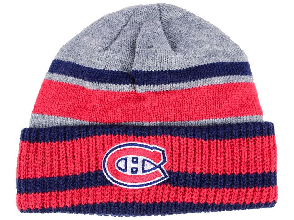 Zimní čepice Montreal Canadiens adidas NHL Heathered Grey Beanie