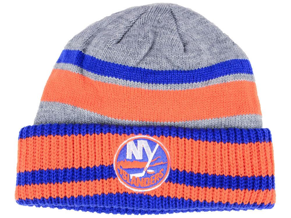 Zimní čepice New York Islanders adidas NHL Heathered Grey Beanie