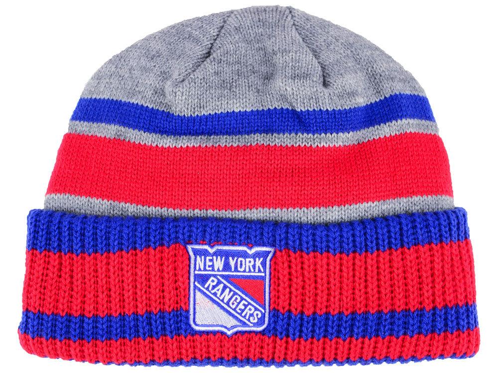 Zimní čepice New York Rangers adidas NHL Heathered Grey Beanie
