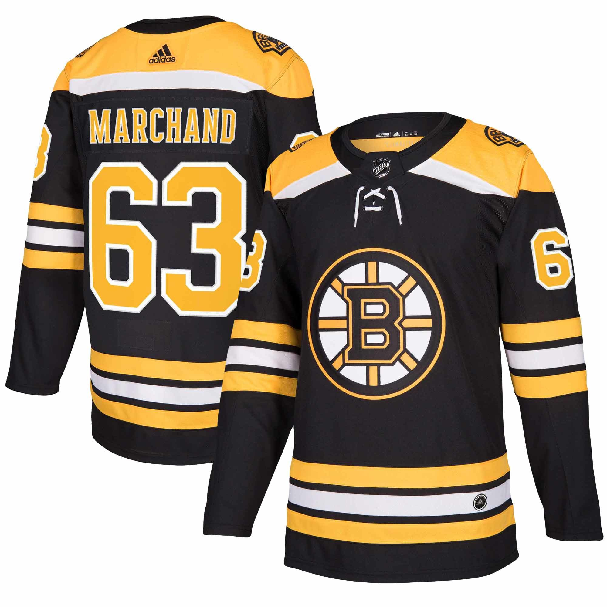 Adidas Dres Boston Bruins #63 Brad Marchand adizero Home Authentic Player Pro Velikost: L, Distribuce: USA