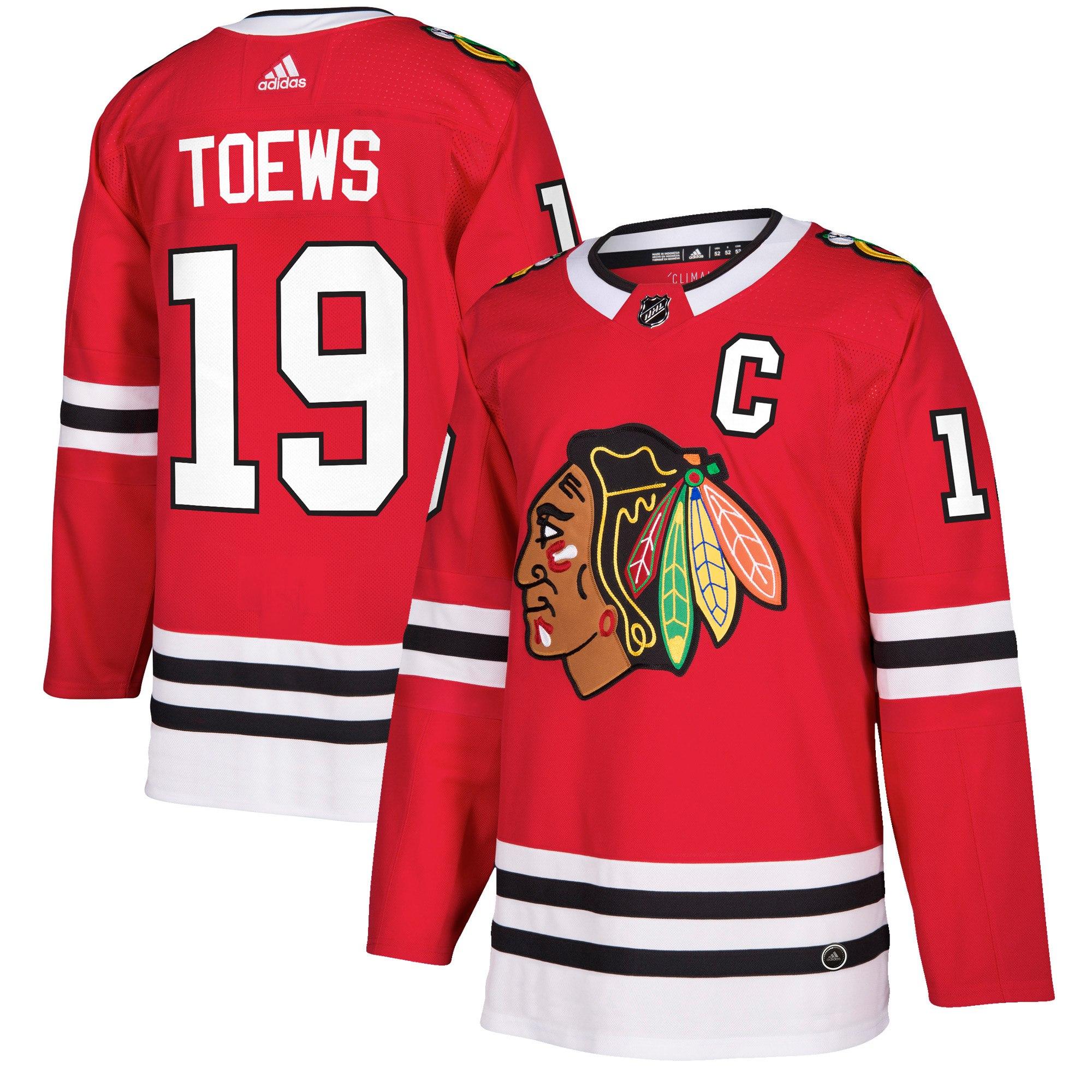Adidas Dres Chicago Blackhawks #19 Jonathan Toews adizero Home Authentic Player Pro Velikost: L, Distribuce: USA