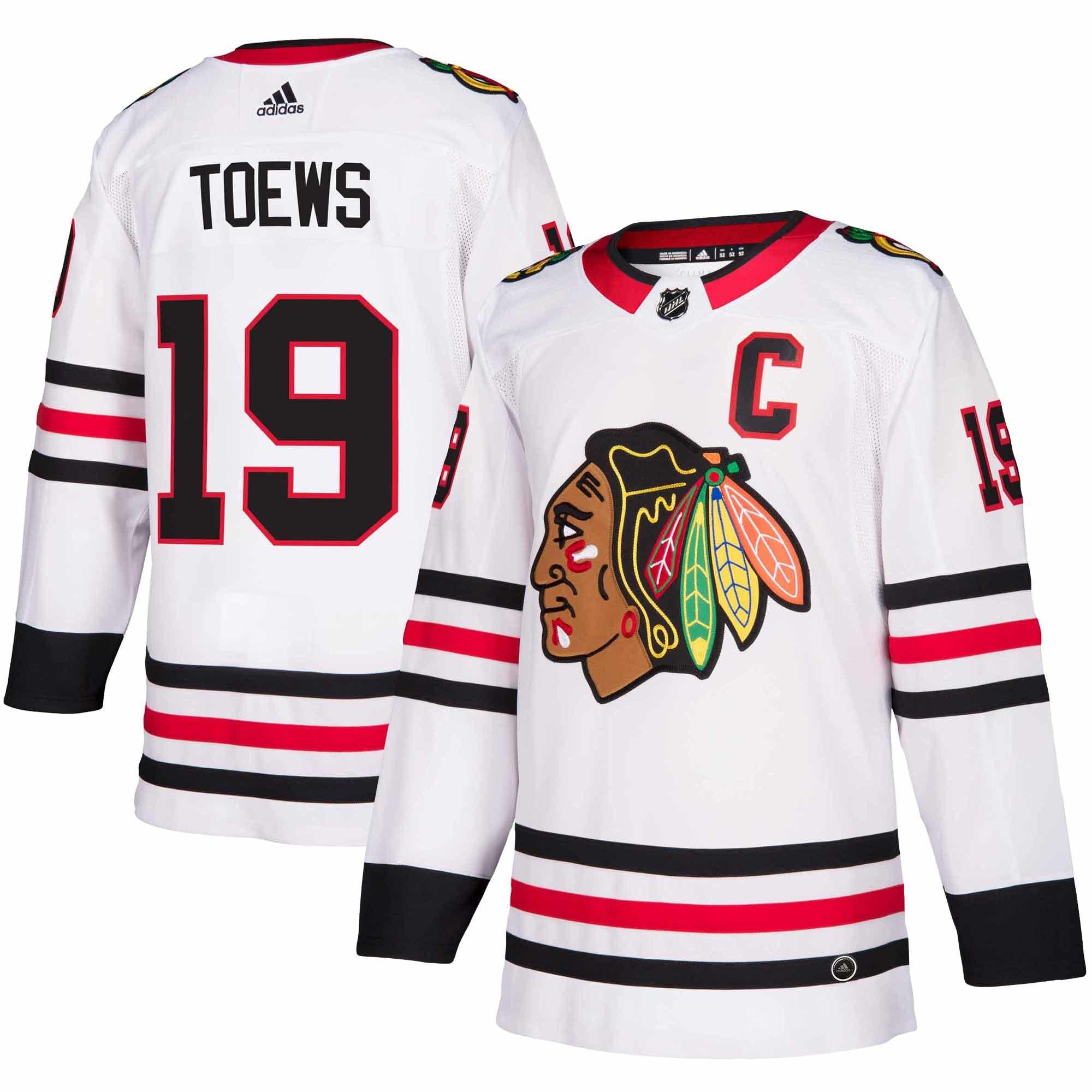 Adidas Dres Chicago Blackhawks #19 Jonathan Toews adizero Away Authentic Player Pro Velikost: L, Distribuce: USA