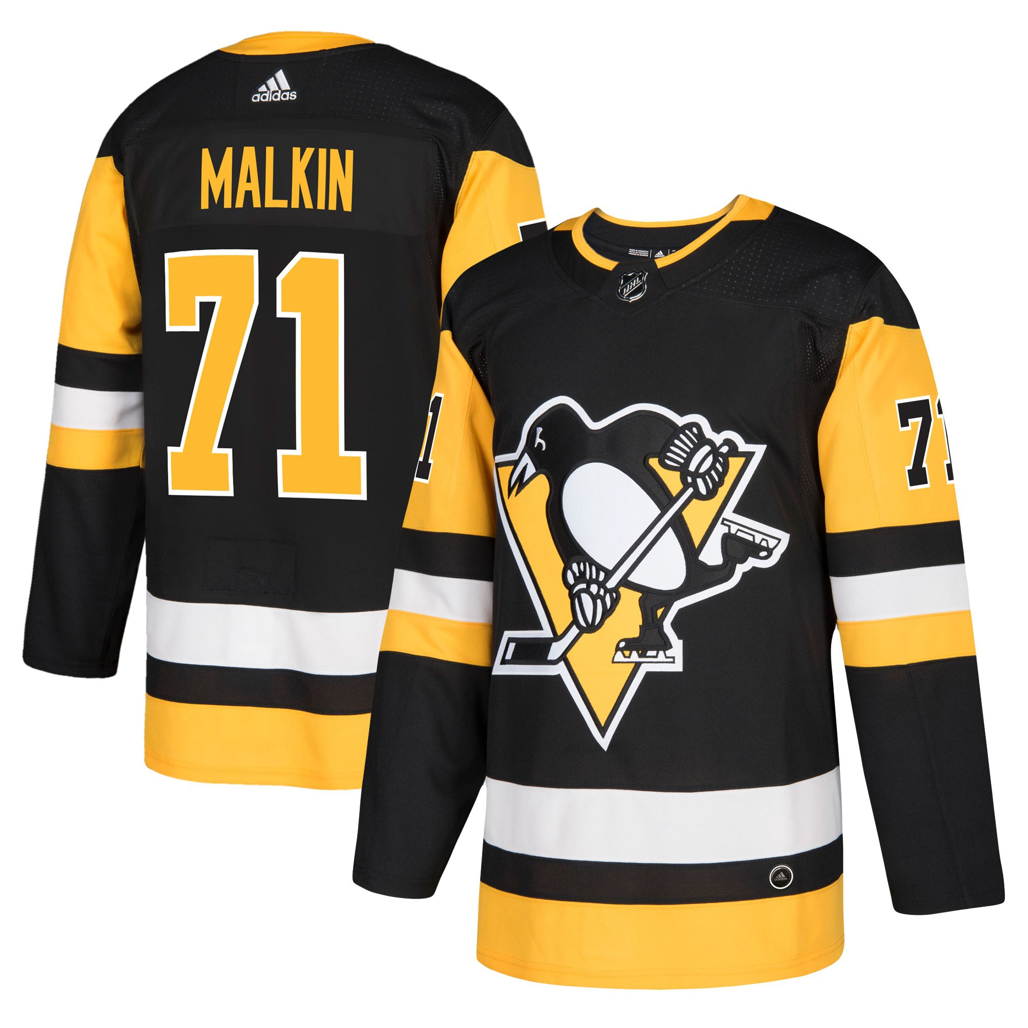 Adidas Dres Pittsburgh Penguins #71 Evgeni Malkin adizero Home Authentic Player Pro Velikost: L, Distribuce: USA