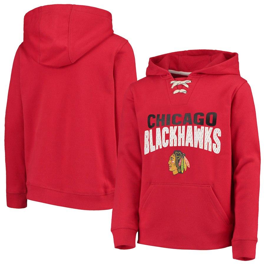 Fanatics Branded Dětská Mikina Chicago Blackhawks Lace Up Pullover Hoodie Velikost: Dětské M (9 - 11 let)