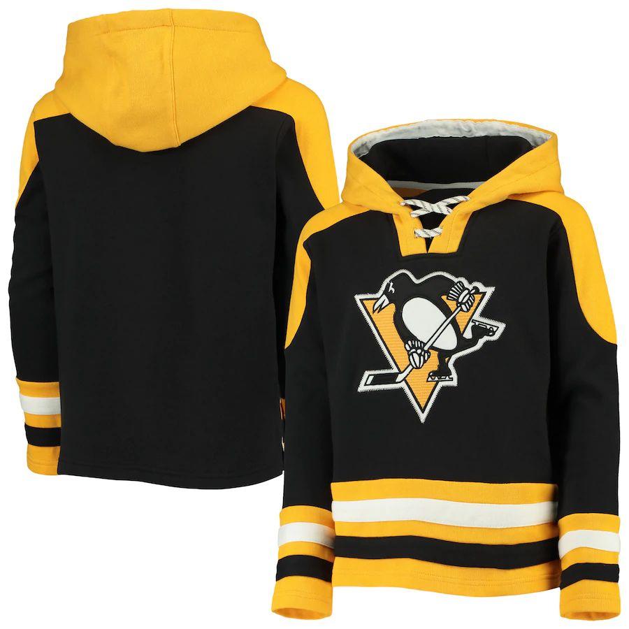 Outerstuff Dětská Mikina Pittsburgh Penguins Ageless Lace-Up Pullover Hoodie Velikost: Dětské XL (13