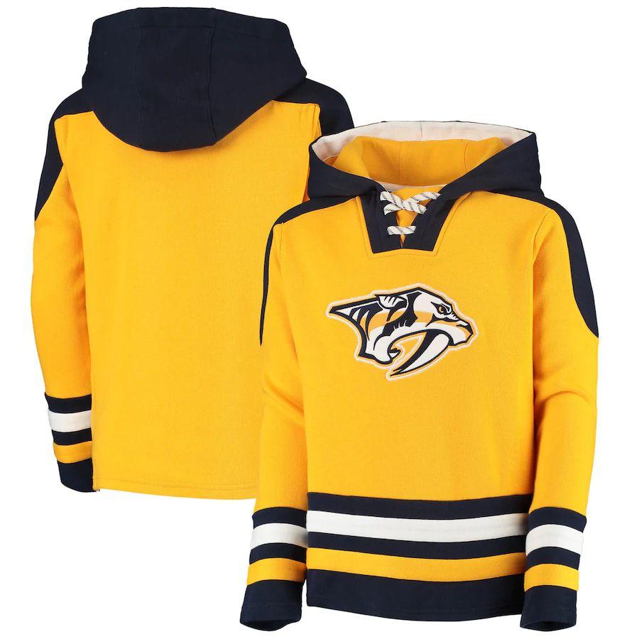 Outerstuff Dětská Mikina Nashville Predators Lace-Up Pullover Hoodie - Gold Velikost: Dětské XL (13