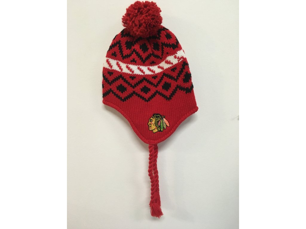 Zimná Čiapka Chicago Blackhawks Tassel Knit 16