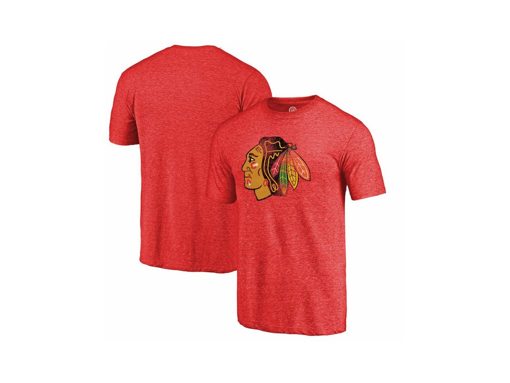Tričko Chicago Blackhawks Distressed Primary Logo Tri-Blend
