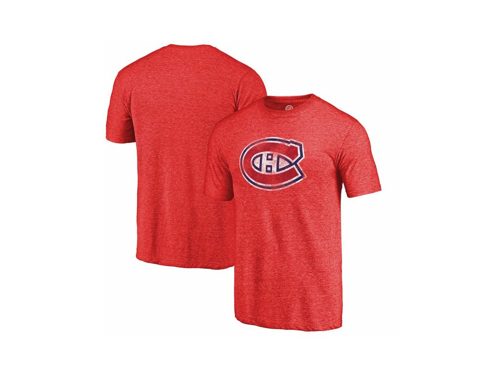 Tričko Montreal Canadiens Distressed Primary Logo Tri-Blend