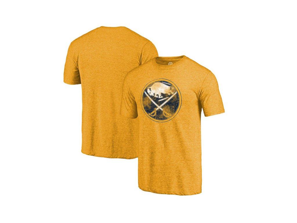 Tričko Buffalo Sabres Distressed Primary Logo Tri-Blend Gold