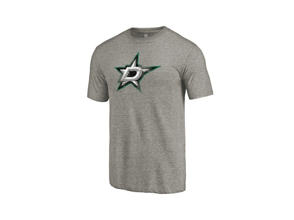 Tričko Dallas Stars Distressed Primary Logo Tri-Blend Gray