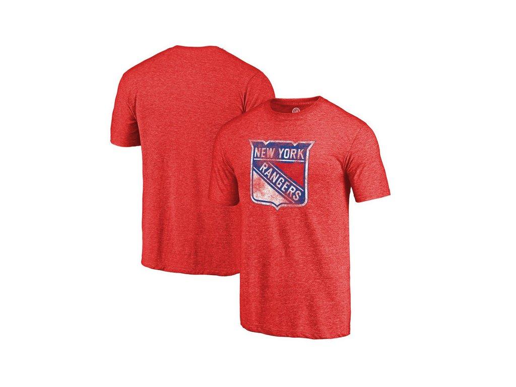 Tričko New York Rangers Distressed Primary Logo Tri-Blend Red