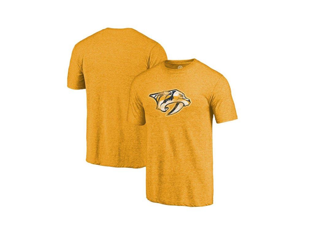 Tričko Nashville Predators Distressed Primary Logo Tri-Blend Gold