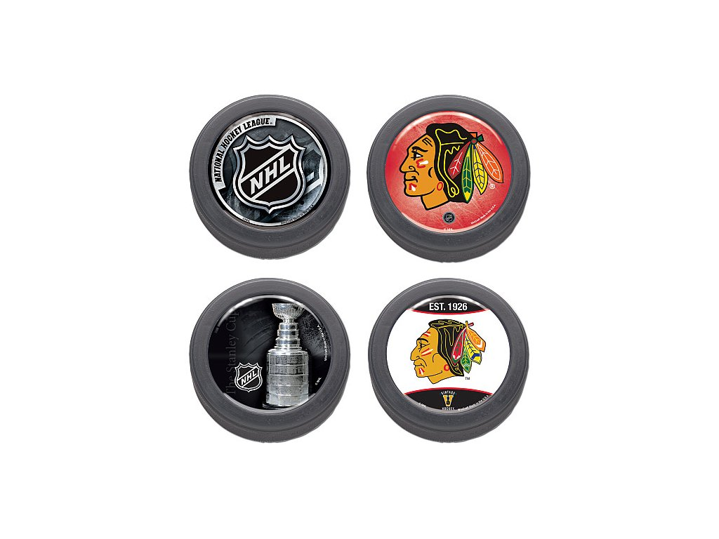 Puk Set - Chicago Blackhawks - 4 kusy