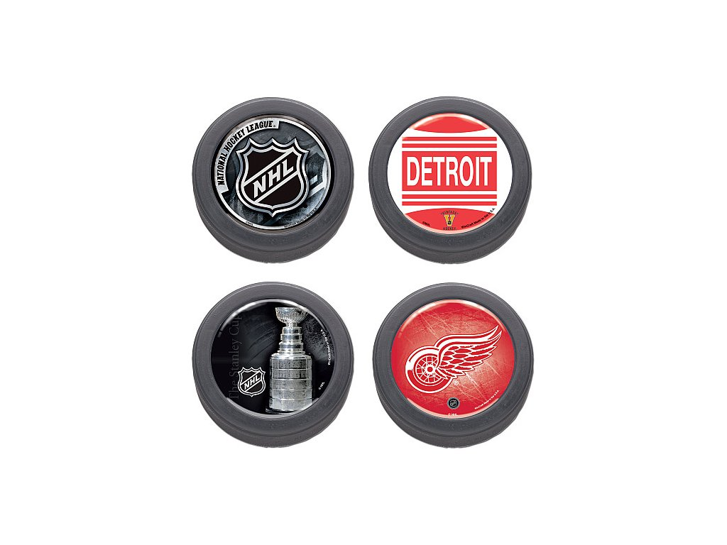 Puk Set - Detroit Red Wings - 4 kusy