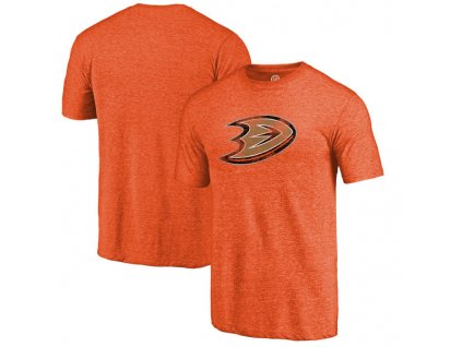 Tričko Anaheim Ducks Distressed Primary Logo Tri-Blend Orange