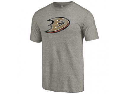 Tričko Anaheim Ducks Distressed Primary Logo Tri-Blend Gray