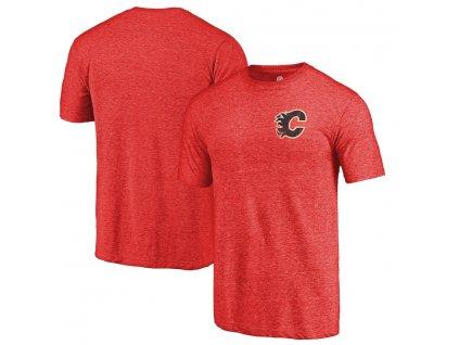 Tričko Calgary Flames Primary Logo Left Chest Distressed Tri-Blend