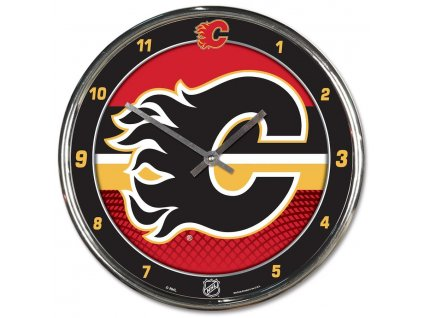 Hodiny Calgary Flames WinCraft Chrome Wall Clock