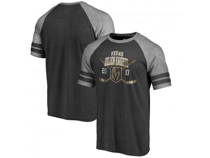 Tričko Vegas Golden Knights Line Shift 2 Stripe Tri-Blend Raglan