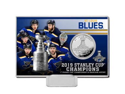 Pamätná minca St. Louis Blues Highland Mint 2019 Stanley Cup Champions 4'' x 6'' Silver Coin Card