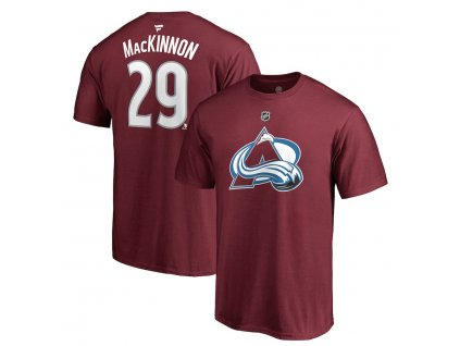 Tričko #29 Nathan MacKinnon Colorado Avalanche Stack Logo Name & Number