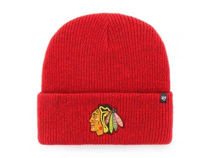 376449 zimni cepice 47 brand brain freeze cuff knit nhl chicago blackhawks cervena 73698