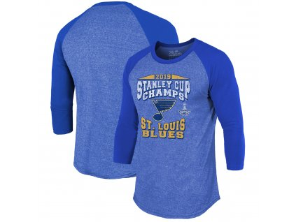 Pánské tričko St. Louis Blues 2019 Stanley Cup Champions The City Never Sleeps Raglan Tri-Blend (Veľkosť XXL)