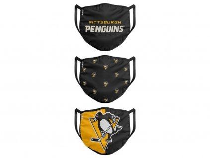 Rúška Pittsburgh Penguins FOCO - set 3 kusy EU