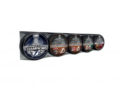 Set pukov Tampa Bay Lightning 2021 Stanley Cup Champions 5-Puck Collection