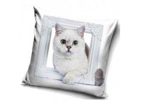 Dekorační polštářek Kočka Sněhulka