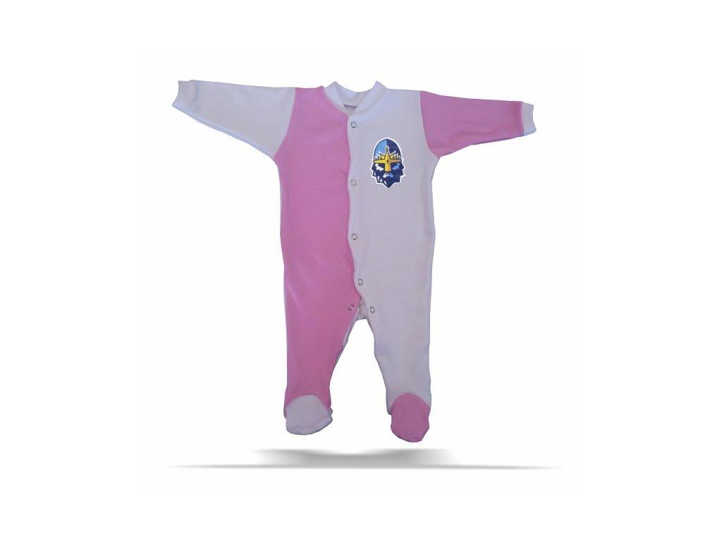 096 Baby OVERAL RYTÍŘI růžovo-bílý