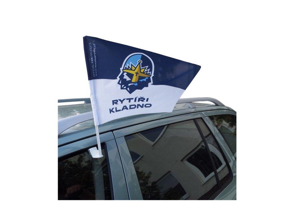 010 Vlajka na auto RYTÍŘI s plastovým držákem