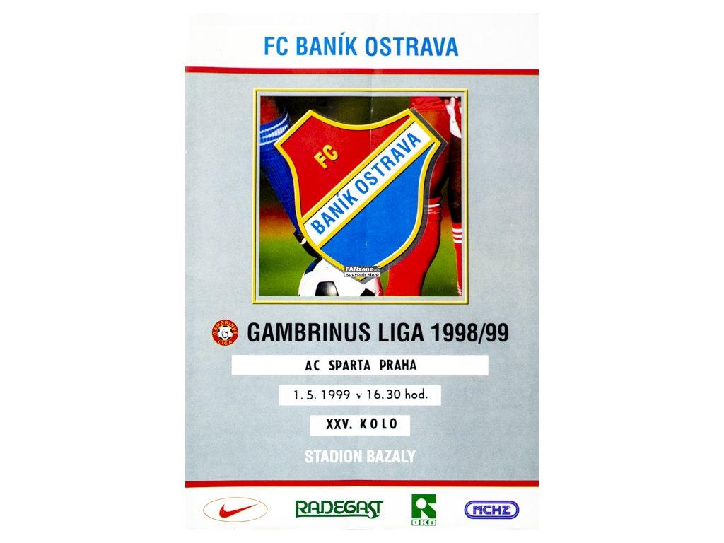 71b2a5f92 Program FC Banik Ostrava vs. AC SPARTA PRAHA , 1999 - FANzone