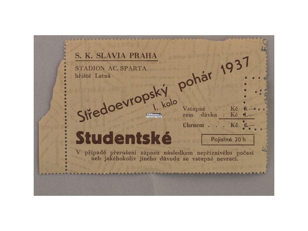 Vstupenka fotbal Středoevropský pohár S.K. Slavia Praha