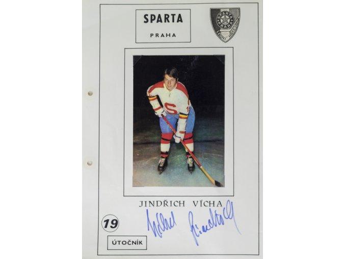 Podpisová karta s fotografií, HC Sparta Praha, Jindřich VíchaPodpisová karta s fotografií, HC Sparta Praha, Jindřich Vícha
