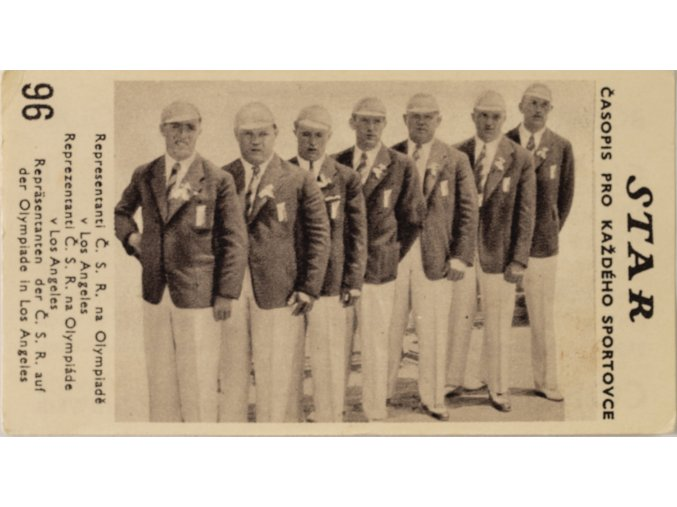 Kartička z časopisu STAR, 96, Representanti Č.S.R. na Olympiádě v Los Angeles