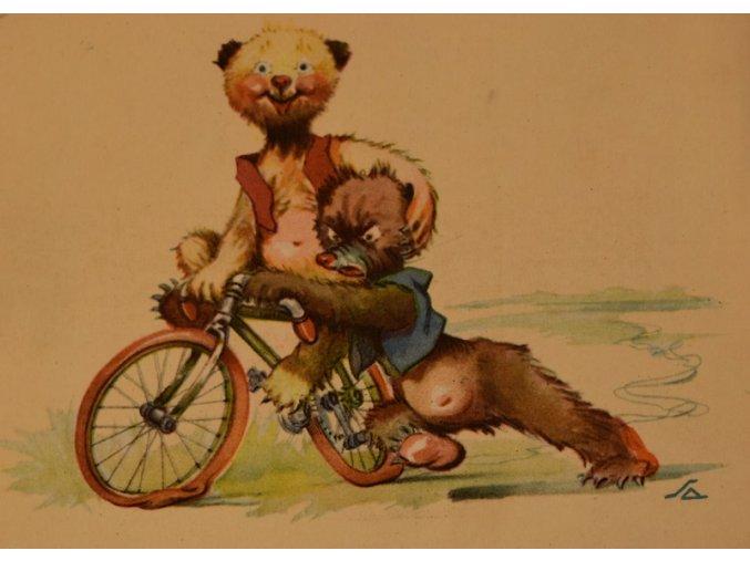 Pohlednice medvědi s kolem III sport antique 30 7 17 (130)
